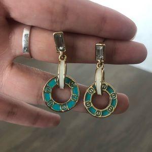 Gold diamond teal dangling earrings hoop rings